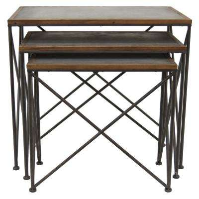 31.5 in. x 15.75 in. Black Metal Accent Table (Set of 3)