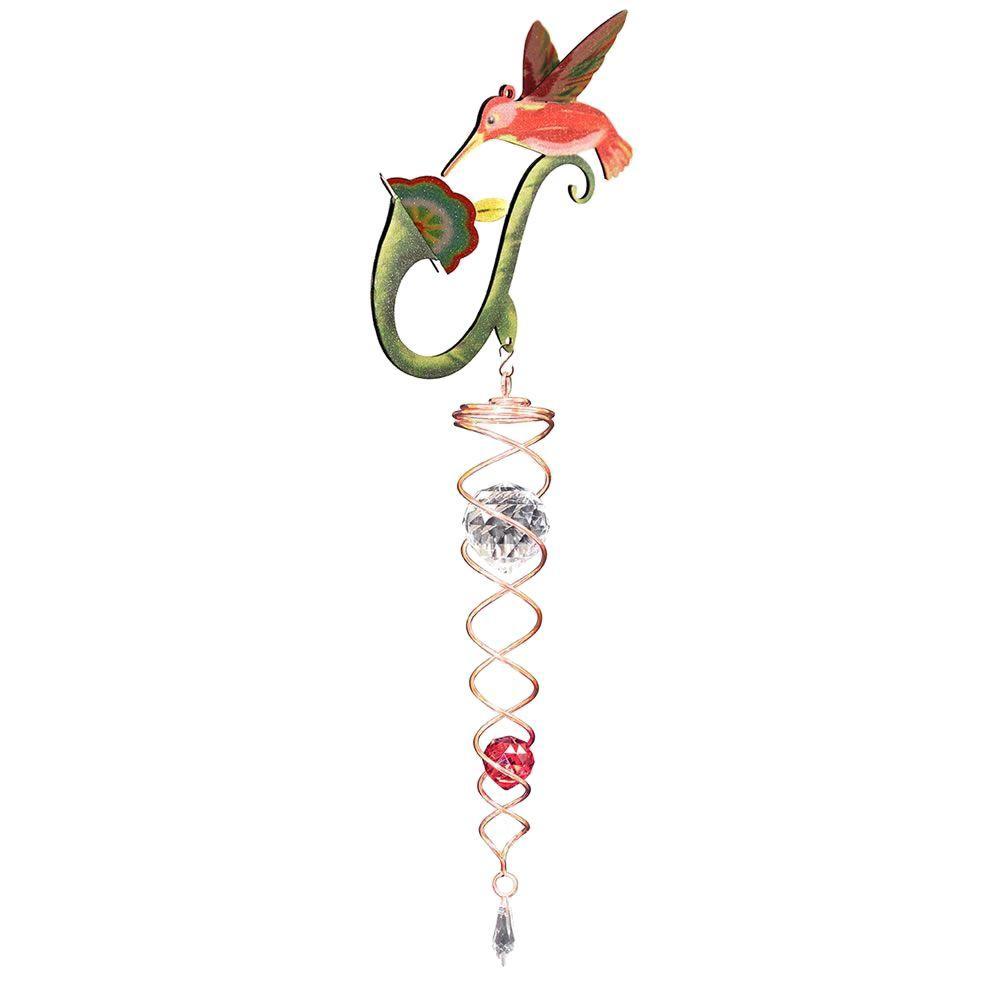 Iron Stop Whimsical Hummingbird Crystal Twister