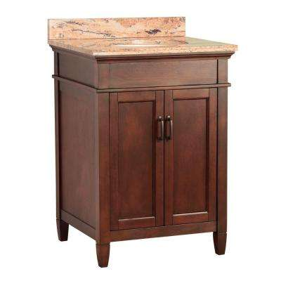Ashburn 25 in. W x 22 in. D Vanity in Mahogany with Vanity Top and Stone Effects in Bordeaux