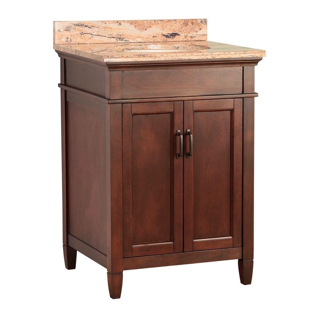 null Ashburn 25 in. W x 22 in. D Vanity in Mahogany with Vanity Top and Stone Effects in Bordeaux