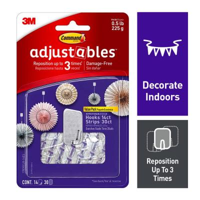 Command Adjustables 1/2 lb. Clear Repositionable Hooks (14 Hooks with 30 Adhesive Strips)