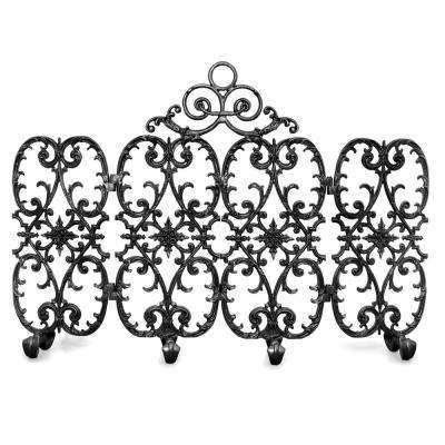 Siena Matte Black 4-Panel 56 in. W Fireplace Screen with Arch