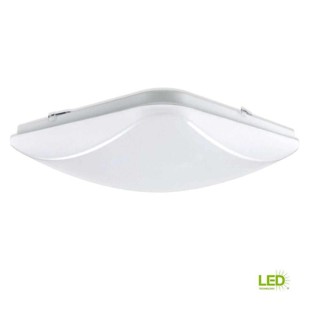 EnviroLite 14 in. 150-Watt Equivalent White Integrated LED Square Ceiling Flushmount