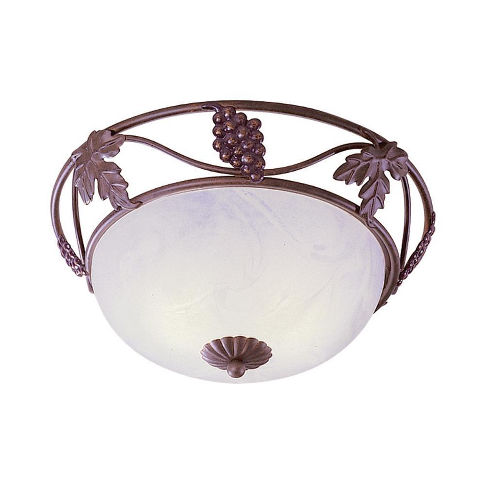 Napa 3-Light Indoor Italian Dusk Flush Mount Ceiling Fixture with White Alabaster Glass Bowl