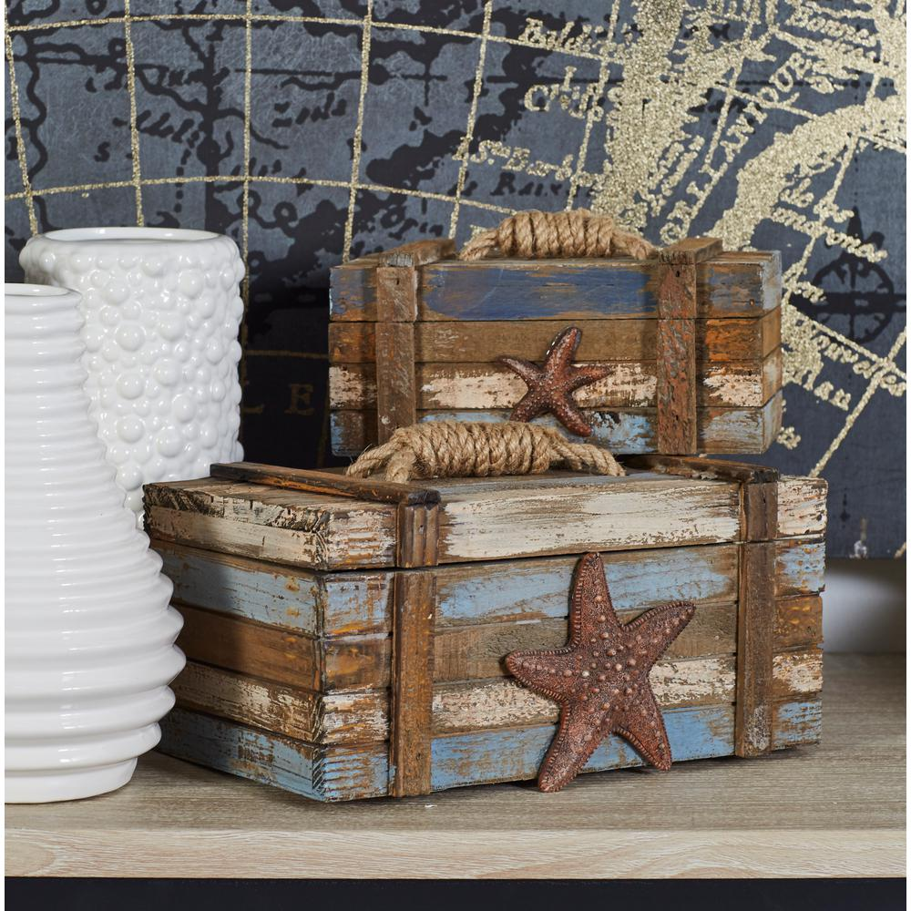 decor containers coles coastal rectangular wooden plank boxes set of 2 78765 10196