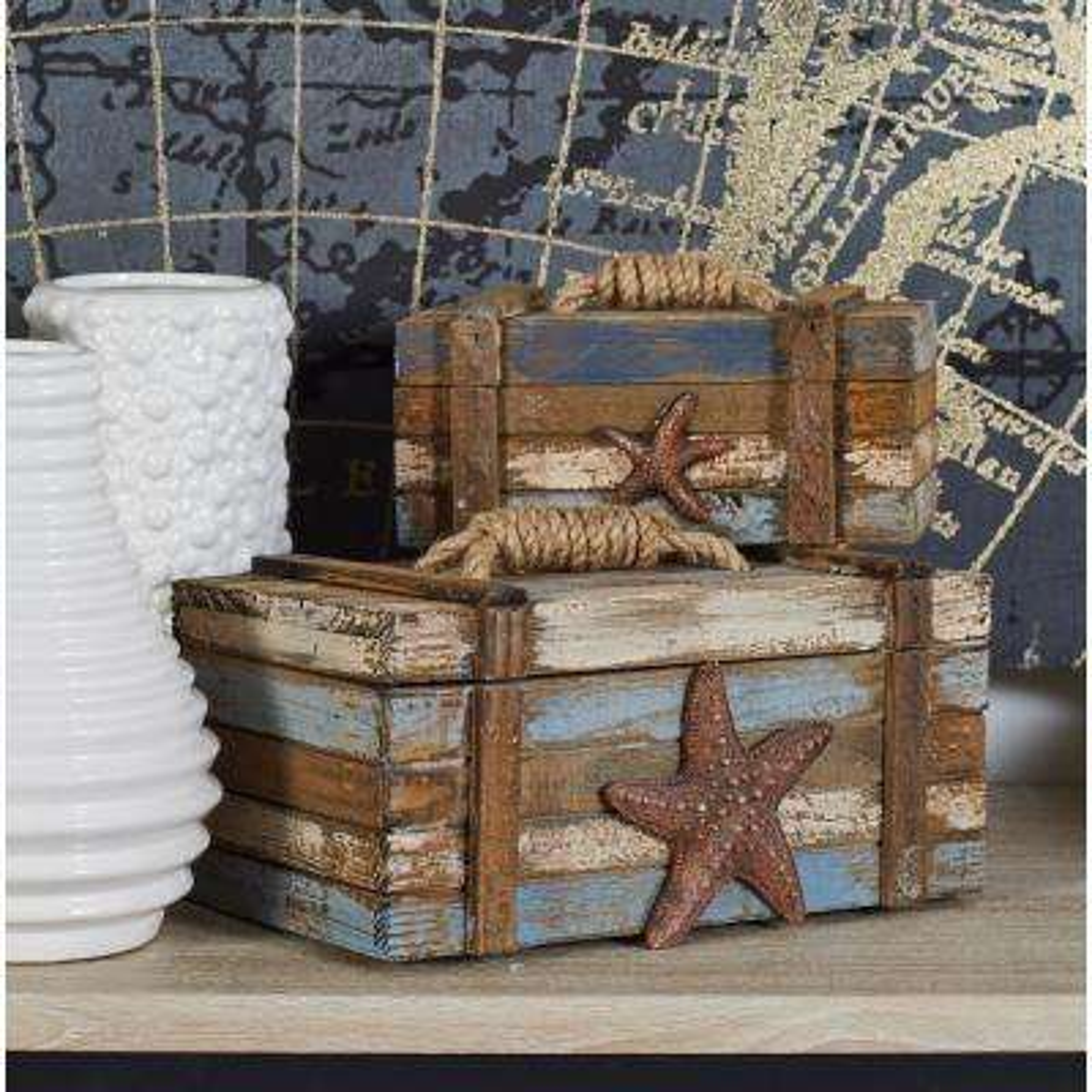 Coastal Rectangular Wooden Plank Boxes (Set of 2)