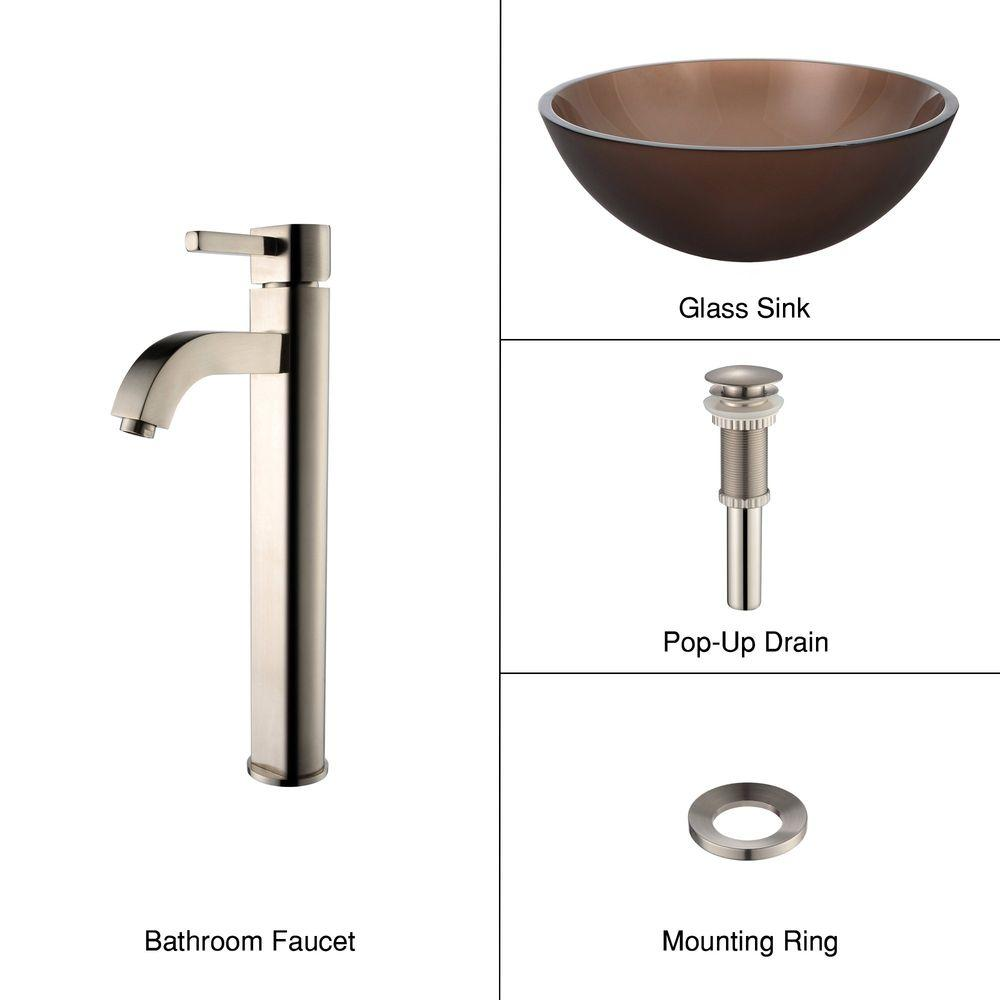 KRAUS Glass Vessel Sink in Frosted Brown with Single Hole 1-Handle High Arc Ramus Faucet in Satin Nickel