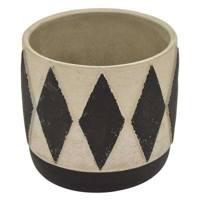 6.5 in. Flower Pot Gray and Black