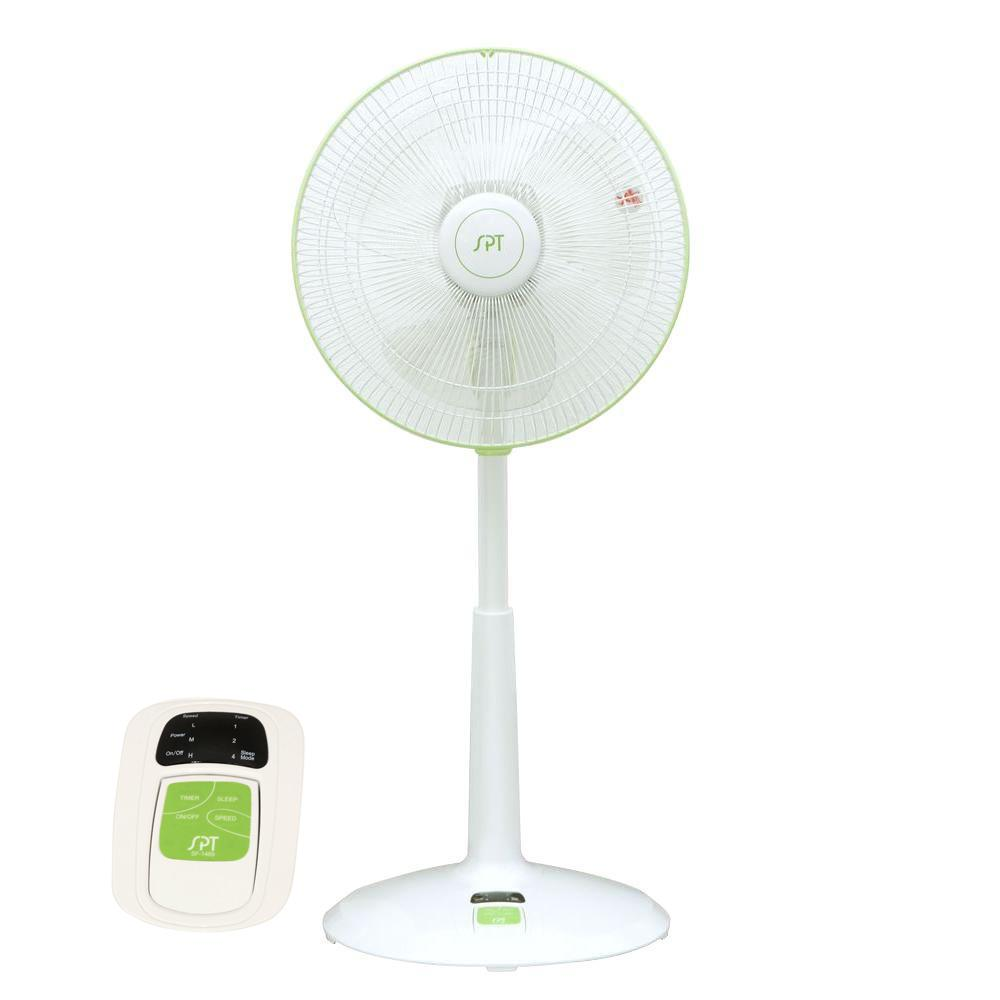 SPT DC-Motor 3-Speed Adjustable-Height 14 in. Oscillating Pedestal Energy Saving Fan with Remote