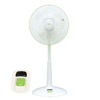 DC-Motor 3-Speed Adjustable-Height 14 in. Oscillating Pedestal Energy Saving Fan with Remote