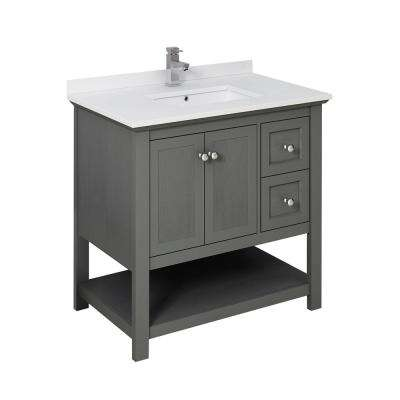 Manchester Regal 36 in. W Bathroom Vanity in Gray Wood with Ceramic Vanity Top in White with White Basin