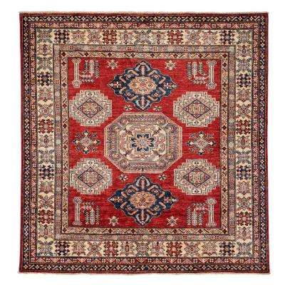 Kazak Red 6 ft. x 6 ft. Square Indoor Area Rug