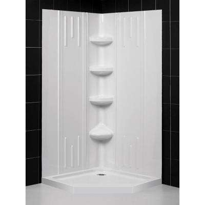 SlimLine 36 in. x 36 in. Single Threshold Neo-Angle Shower Base in White with Back-Walls