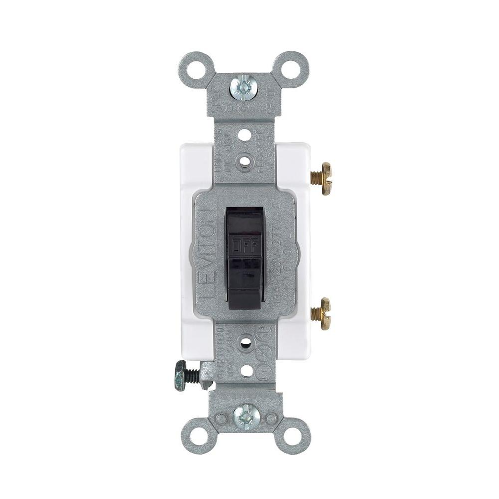 Leviton 20 Amp Single-Pole Toggle Quiet Switch, Black-R55-0CSB1-2ES ...