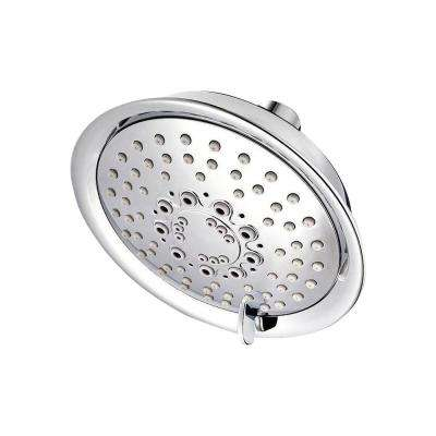 Universal 5-Spray 5.66 in. Single Wall Mount Low Flow Fixed Rain Shower Head in Polished Chrome