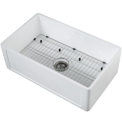 Holbrook Pure Stone 30 in. Single Bowl Farmhouse Kitchen Sink with Grid and Strainer in White