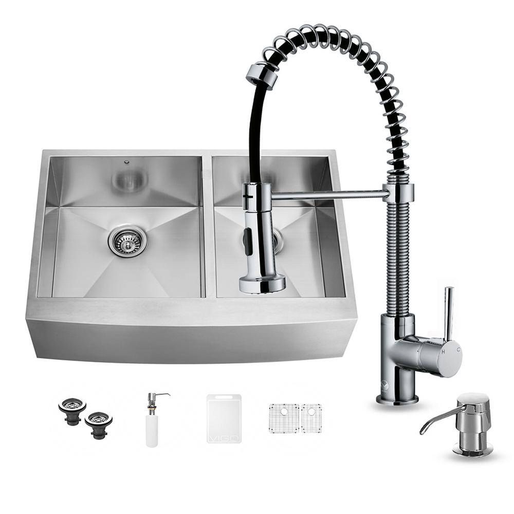 VIGO All-in-One Farmhouse Apron Front Stainless Steel 36 in. 0-Hole Double Bowl Kitchen Sink and Chrome Faucet Set