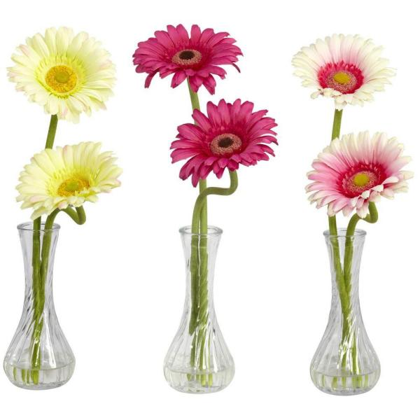 13 in. H Assortment 2 Gerber Daisy with Bud Vase (Set of 3)