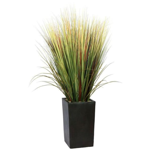 Tall High End Realistic Silk Gr Floor Plant With Contemporary Planter