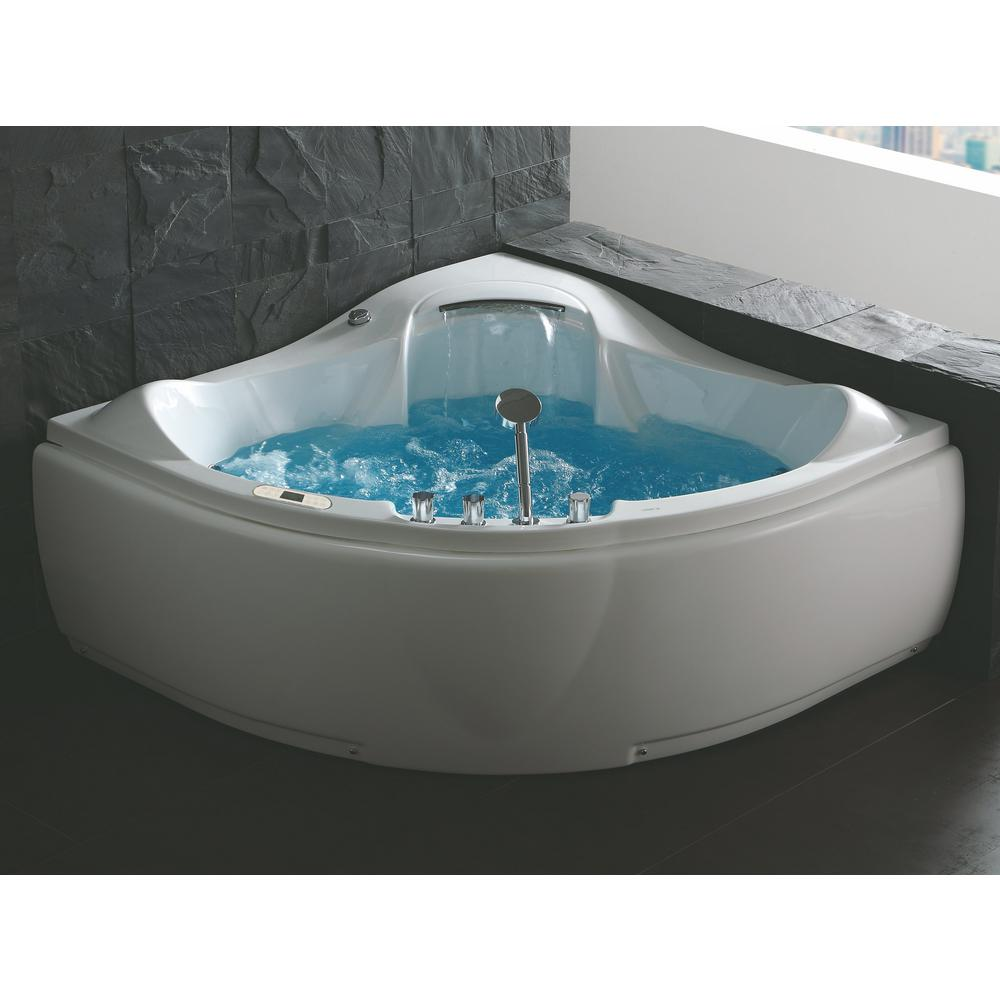59 in. Acrylic Offset Drain Corner Apron Front Whirlpool Bathtub in