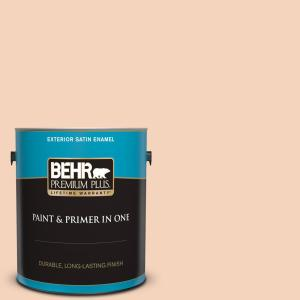 Behr Premium Plus 1 Gal Bxc 37 Miami Stucco Satin Enamel Exterior Paint And Primer In One 905001 The Home Depot