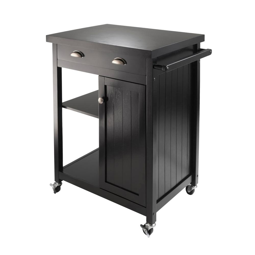 Winsome Wood Timber Black Kitchen Cart With Storage