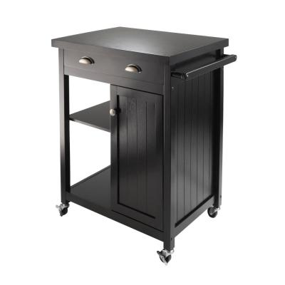 Timber Black Kitchen Cart with Storage