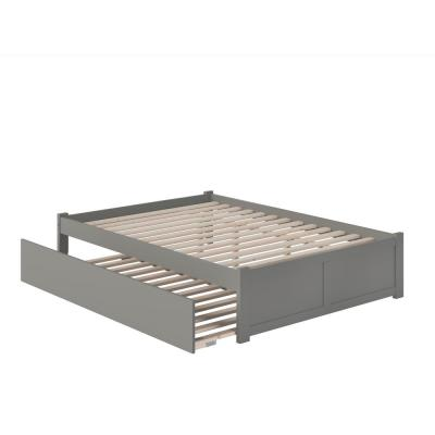 Concord Queen Bed with Footboard and Twin Extra Long Trundle in Grey
