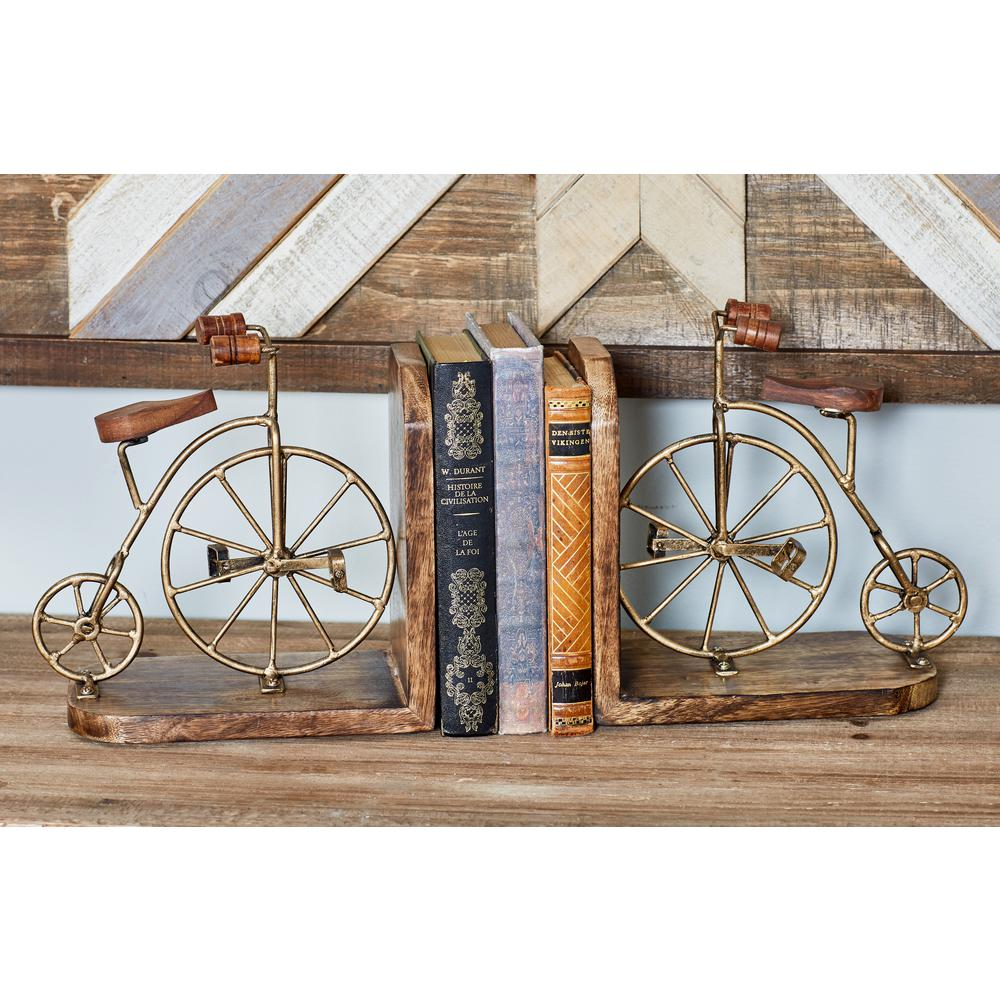 Brown Wood and Iron Bicycle-Inspired Bookends with Gold Accents (Set of