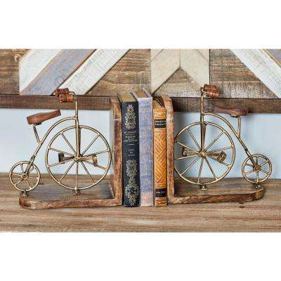 Brown Wood and Iron Bicycle-Inspired Bookends with Gold Accents (Set of 2)