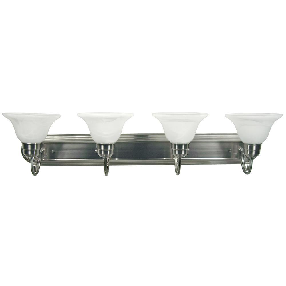 Monica 4-Light Satin Nickel Bath Vanity Lighting