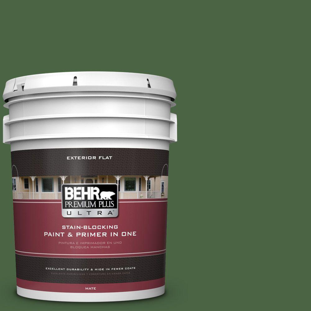 BEHR Premium Plus Ultra 5-gal. #S400-7 Deep Viridian Flat Exterior Paint