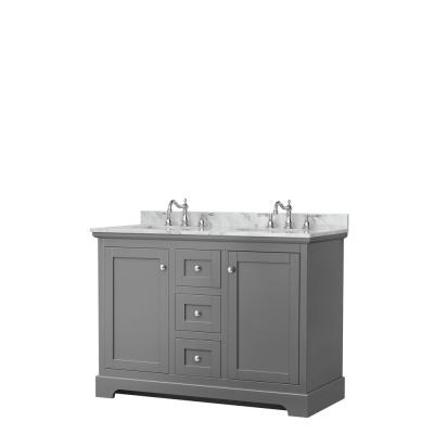 Avery 48 in. W x 22 in. D Double Vanity in Dark Gray with Marble Vanity Top in White Carrara with Oval Basins