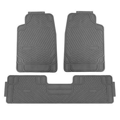 Gray Heavy Duty 3-Piece 29 in. x 19 in. x 2 in. Durable Rubber All Weather Protection Car Floor Mats