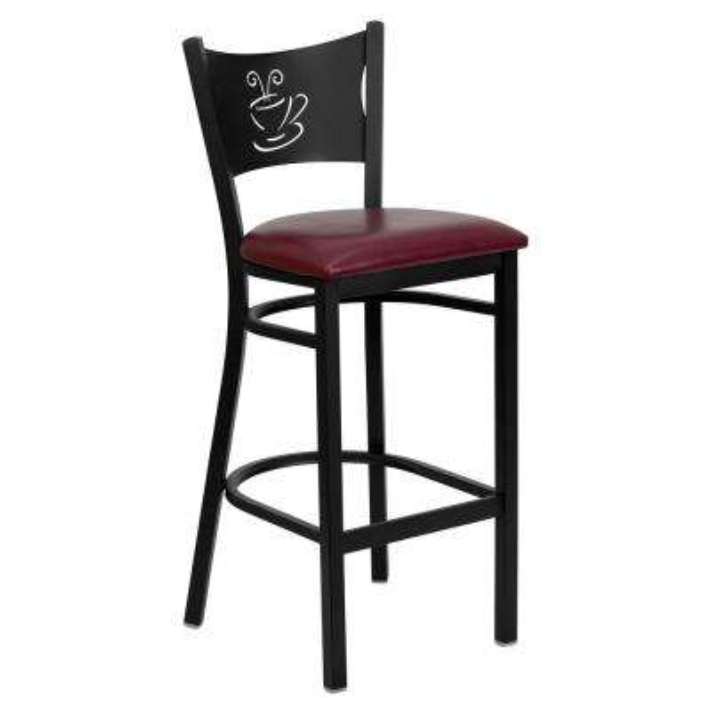 Black Coffee Back Metal Restaurant Barstool - Burgundy Vinyl Seat