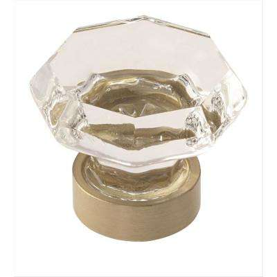 Traditional Classics 1-1/8 in. (29 mm) Clear Glass/Golden Champagne Cabinet Knob