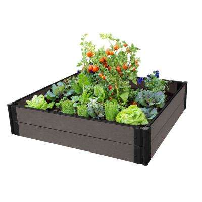 One Inch Series 4 ft. x 4 ft. x 11 in. Weathered Wood Composite Raised Garden Bed