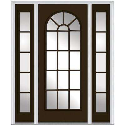 60 in. x 80 in. Classic Left-Hand Inswing Full Lite Round Top Clear Painted Steel Prehung Front Door with Sidelites