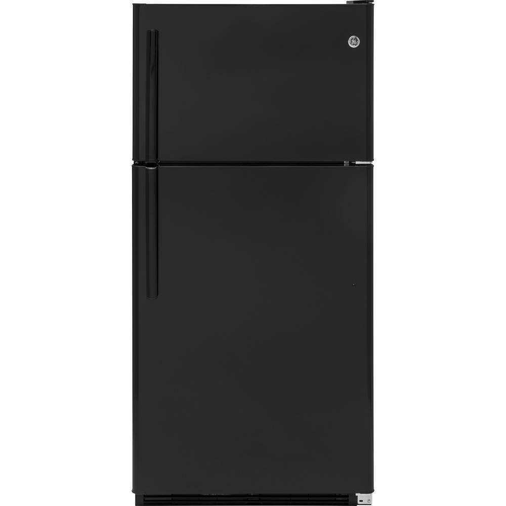 20.8 cu. ft. Top Freezer Refrigerator in Black GE appliances provide up-to-date technology and exceptional quality to simplify the way you live. With a timeless appearance, this family of appliances is ideal for your family. And, coming from one of the most trusted names in America, you know that this entire selection of appliances is as advanced as it is practical. Color: Black.