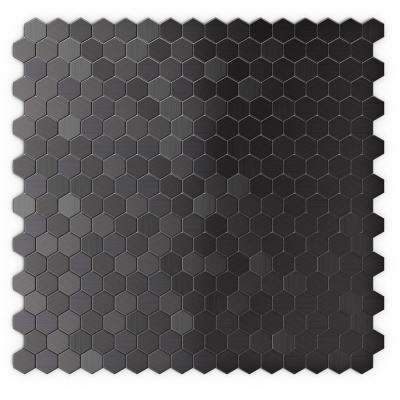 Hexagonia SB 11.46 in. x 11.89 in. x 5 mm Self Adhesive Wall Tile Mosaic in Black Stainless (11.4 sq. ft. / case)