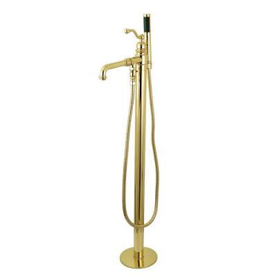 Country Single-Handle Claw Foot Tub Faucet with Hand Shower in Polished Brass