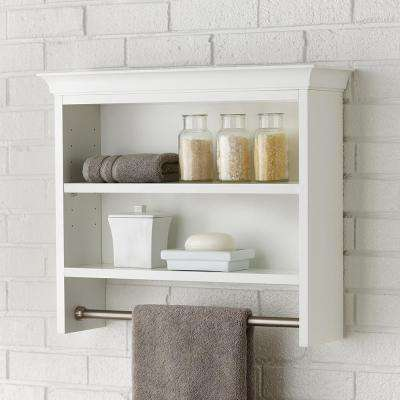 Creeley 24 in. W x 21 in H x 7 in. D Wall-Mount 2-Tier Bathroom Shelf with Towel Bar in Classic White