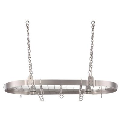 3.25 in. x 18 in. x 36 in. Satin Nickel Oval Pot Rack
