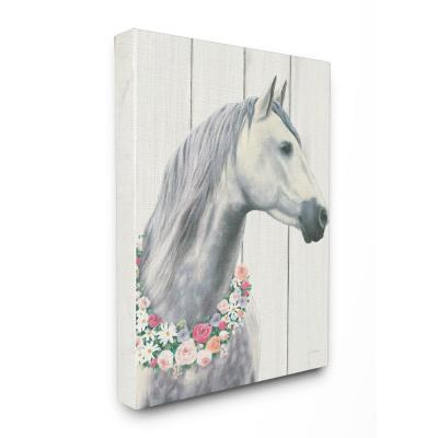"""24 in. x 30 in. """"Spirit Stallion Horse With Flower Wreath"""" by James Wiens Printed Canvas Wall Art"""