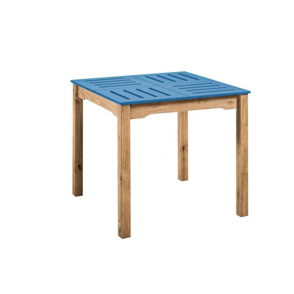 Manhattan Comfort Stillwell 31.5 in. Blue and Natural Wood Square Table