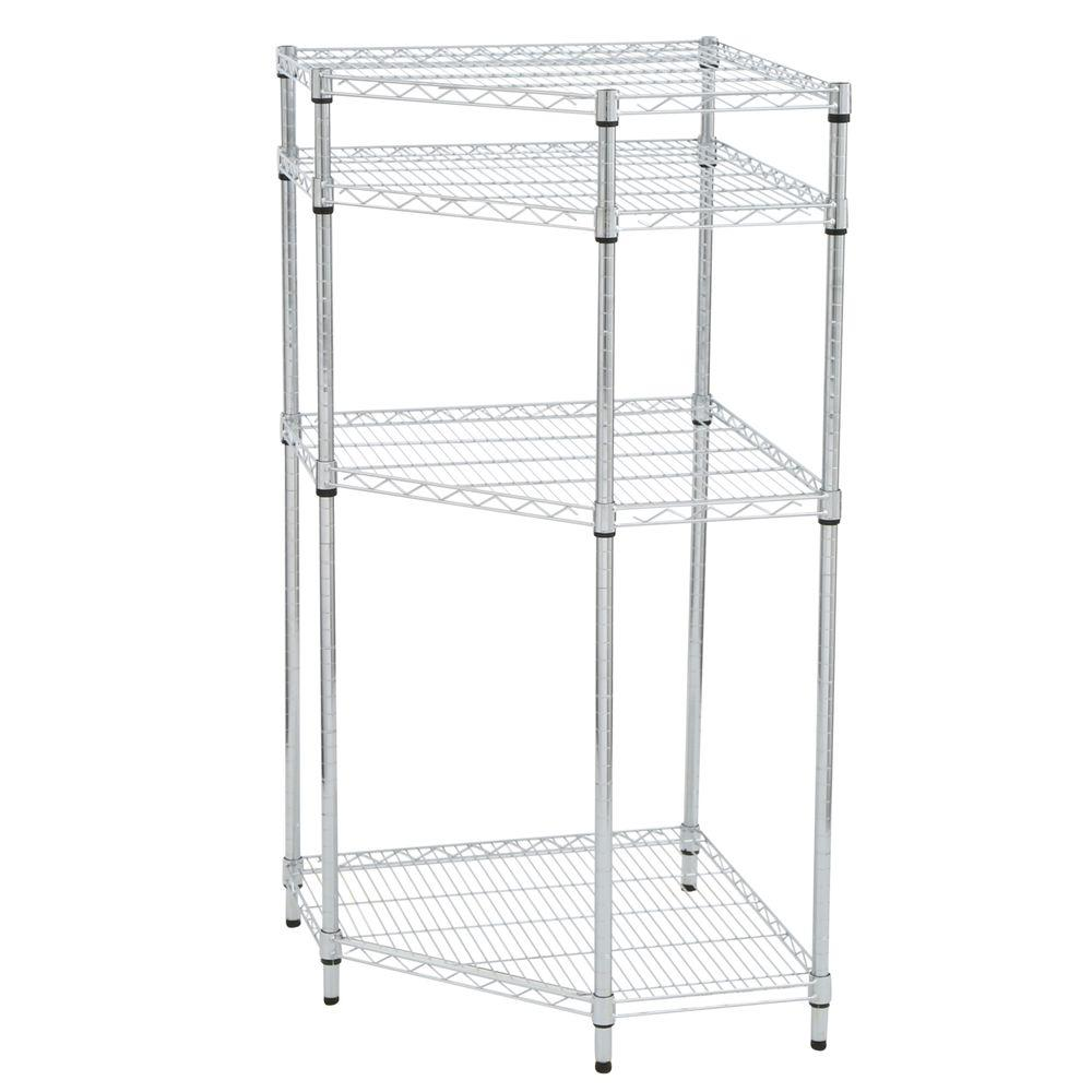 HDX 54 in. H x 27 in. W x 27 in. D 4-Tier Wire Shelving Unit in Chrome