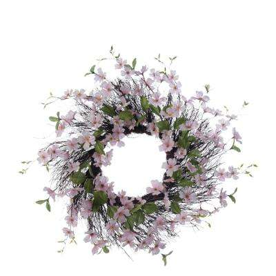Spring Collection 26 in. Pink Dogwood Wreath (1-Pack)