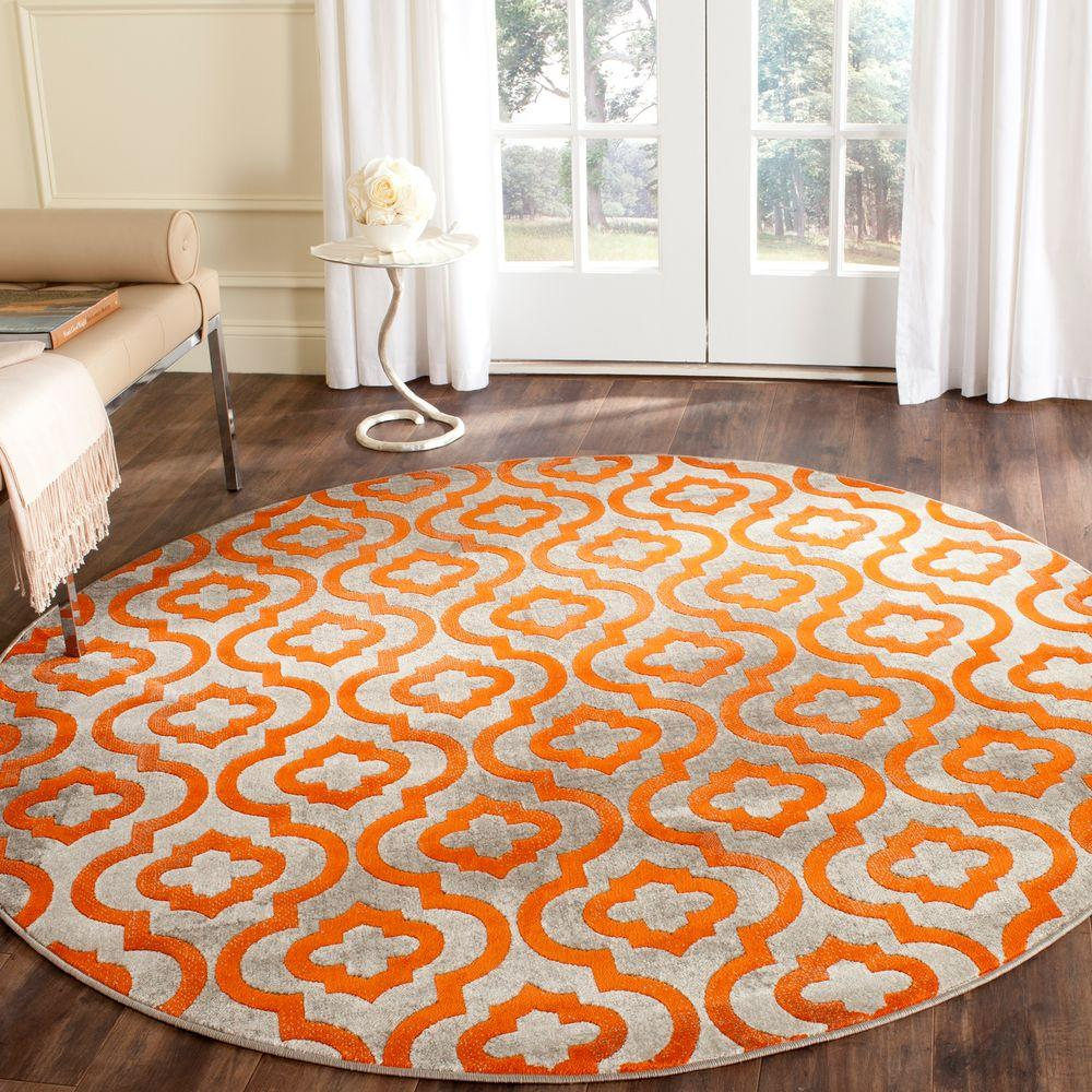 Safavieh Porcello Light Grey Orange 5 Ft X Round Area Rug