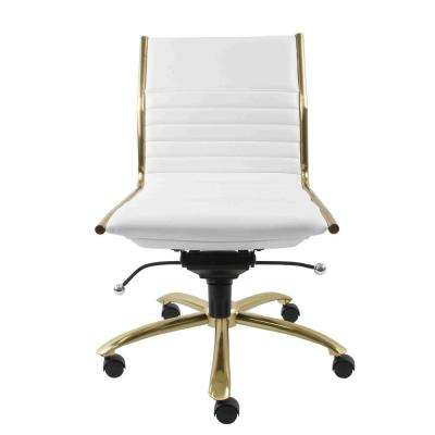 Dirk White Armless Low Back Office Chair