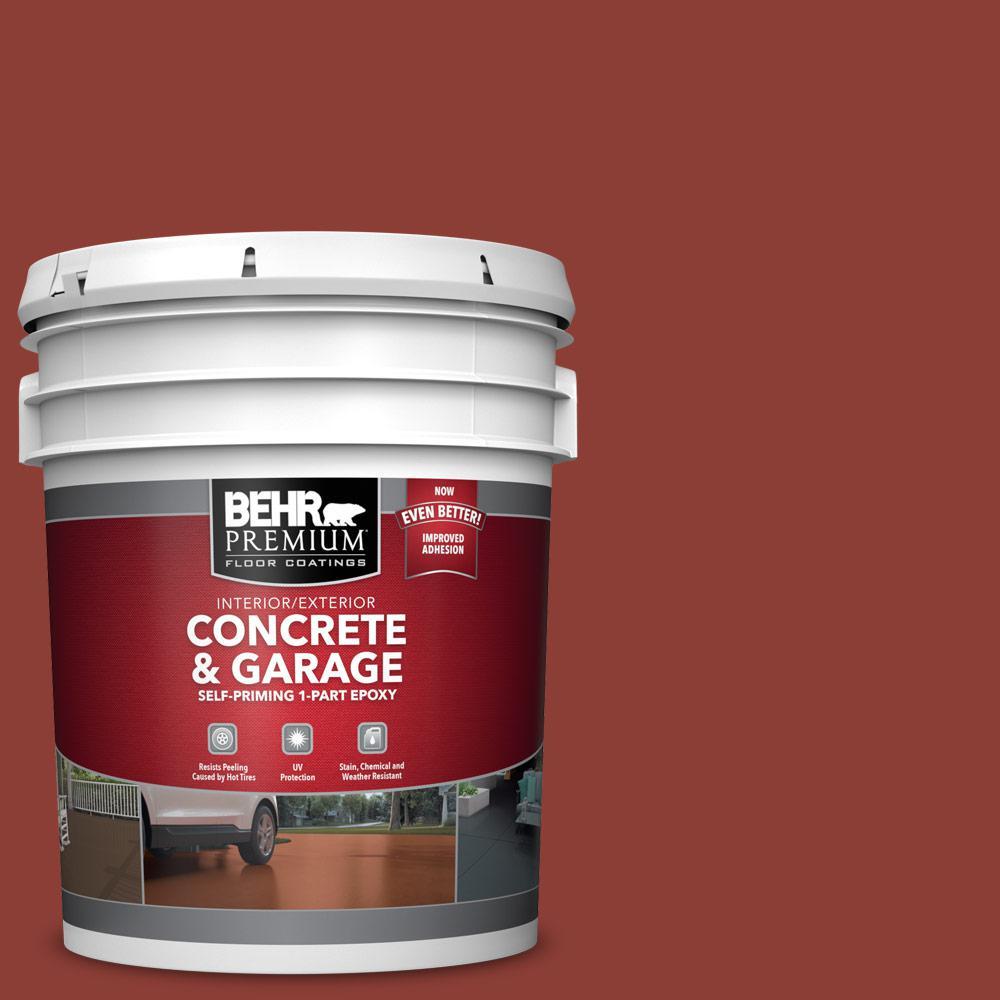 5 gal. #PFC-10 Deep Terra Cotta Self-Priming 1-Part Epoxy Satin Interior/Exterior Concrete and Garage Floor Paint